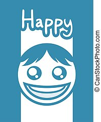 nice blue happy face design