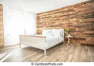 Nice boho interior style bedroom .