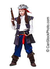 Nice boy posing in pirate costume