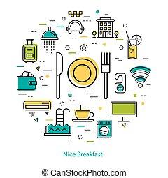 Nice Breakfast in Hotel - Line concept