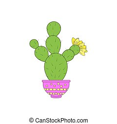 Nice cactus on the white background . Vector illustration