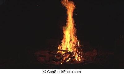 nice, big campfire at night