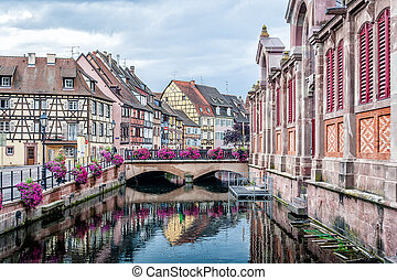Nice Canal with historical Houses in Strasbourg, France