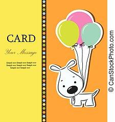 Nice card with funny cartoon dog
