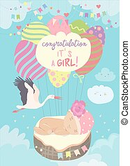 Nice card with stork and baby on blue sky
