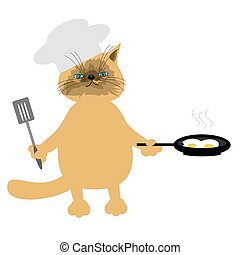 nice cat cooking eggs on white