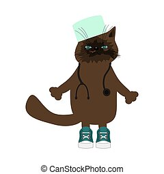 nice cat doctor on white