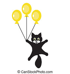 nice cat with balloons