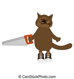 nice cat with saw on white background