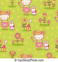 Cute girl and flowers seamless pattern