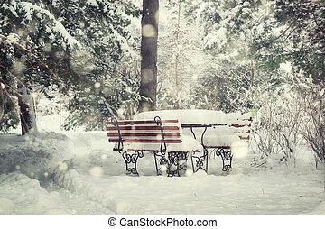 Christmas scene in a park