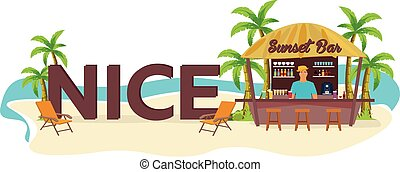 Nice city. France. Travel. Palm, drink, summer, lounge chair, tropical.