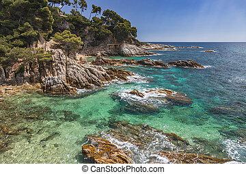 Nice coastal landscape from Spanish Costa Brava in Spain