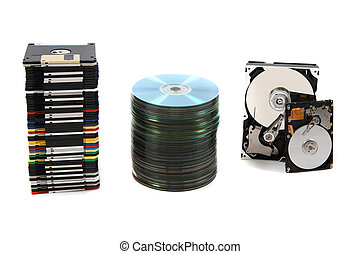 hdd, floppy, dvd and cd-rom data background - nice color...
