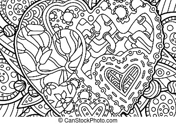 Nice coloring book page with decorative hearts