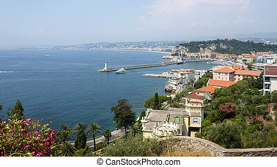 Nice (Alpes-Maritimes, Provence-Alpes-Cote d'Azur, France), panoramic view in a sunny summer day
