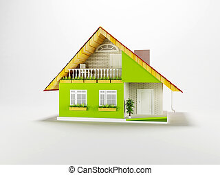 nice cottage on white background