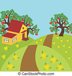 nice countryside landscape vector illustration