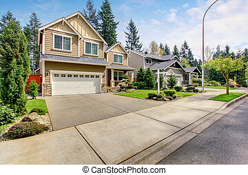 Nice curb appeal of American two story house with perfect...