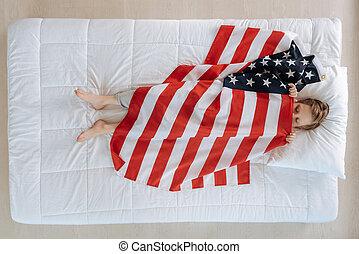 Nice cute boy being an American patriot