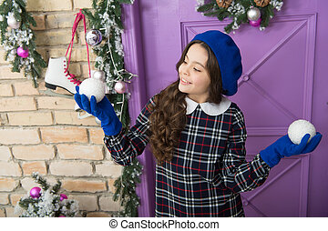 nice day. small french girl. trendy kid decorative xmas ball. home and christmas tree decor. happy new year. smiling parisian child in beret and gloves. winter holiday activity. christmas shopping