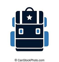 Backpack icon, school bag vector