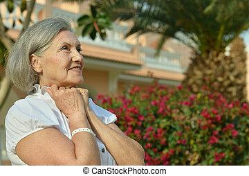 woman at resort vacation