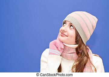 Nice dressed girl, blue background
