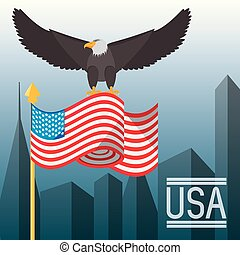 nice eagle with american flag in the city