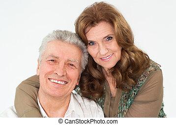 nice elderly couple on a white background