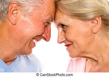 nice elderly couple together on a white background