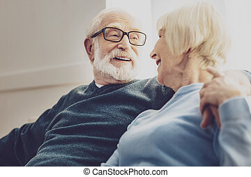 Nice elderly man having a conversation