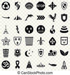 Nice emblem icons set, simple style