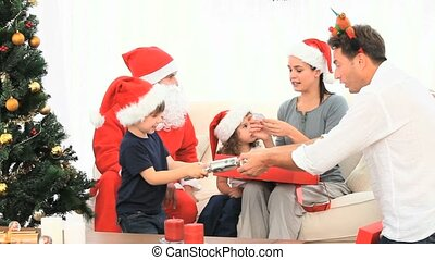 Nice familly with Santa Claus