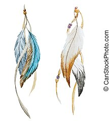 Nice feather - Beautiful vector image with nice watercolor...