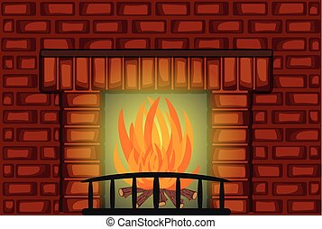 Nice Fire Place with Red Brick wall