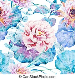 Nice floral watercolor seamless pattern