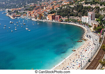 Nice, France - High angle view of beach. Nice, France