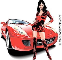 nice girl and my original design car isolated on the white...