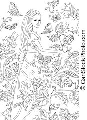 nice girl in fancy flowering garden for your coloring book