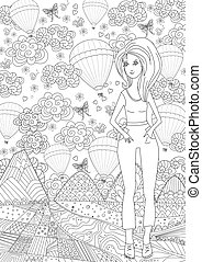 nice girl in fancy landscape for your coloring book