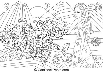 nice girl in mountain landscape for your coloring book