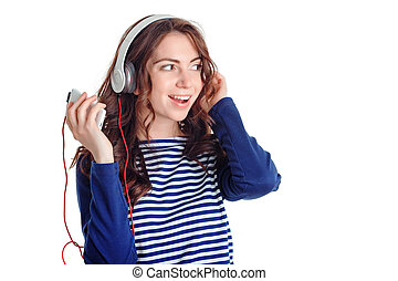 Nice girl listening to music - Feel the beat. Agreeable...