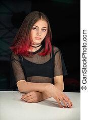 Nice girl posing in studio