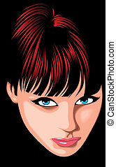 nice girl (woman ) face from my fantasy isolated on the dark background