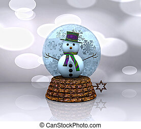 Nice glass ball with Snowman - 3D