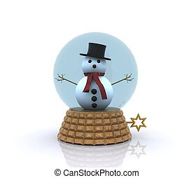 Nice glass ball with Snowman - 3D - Glass sphere with cute...