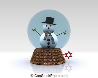 Nice glass ball with Snowman - 3D