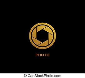 nice golden half eye photo icon