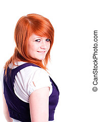 nice gorgeous girl in red hair isolated against white backgroun